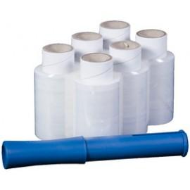Mini stretch SMARTBOXPRO ensemble film polyéthylène transparent - B 100 mm x L 150 m - 17 My - 6 rouleaux + 1 dérouleur à main