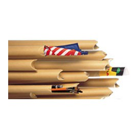 Tube beige à bouts pincés 60 x 760 mm - kraft beige extérieur - Diamètre 60 mm