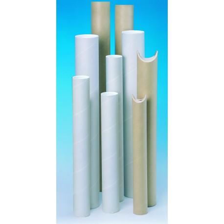Tube blanc à bouchons plastiques 50 x 420 mm - Poid 76 g - Epaisseur 1.35 mm