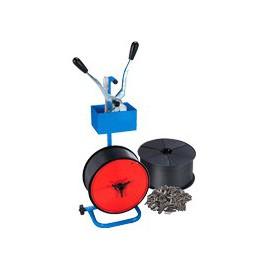 Kit feuillard polypro 12 mm - Devidoir - Combine - 2000 Chapes- 2 bobines feuillard 12 x 0,6 mm x 1500 m