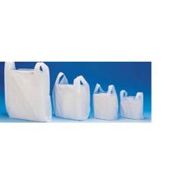 2000 sacs plastique à bretelles blanc pehd 10 my 26 x 45 cm