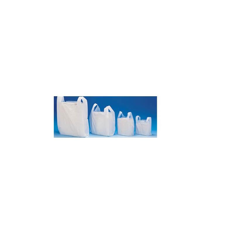 LOT 1000 SACS BRETELLE PLASTIQUE SACHET BLANC 26*45 CM AVEC ANSE203