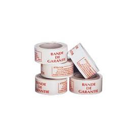 Ruban adhésif PVC blanc impression rouge bande de garantie 50 mm x 100 m